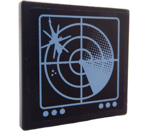 LEGO Roadsign Clip-on 2 x 2 Square with Screen with radar Sticker with Open 'O' Clip (15210)