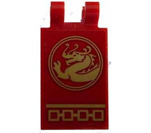 LEGO Tile 2 x 3 with Horizontal Clips with Gold Dragon Left Sticker (Angled Clips) (30350)