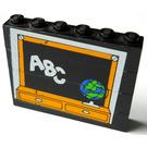 LEGO Fabuland Blackboard Assembly with White 'ABC' and Globe Sticker