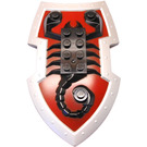 LEGO Large Figure Shield with Scorpion on Dark Red Background and Metallic Silver Border Pattern