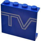 """LEGO Panel 1 x 4 x 3 with White """"TV"""" Logo without Side Supports, Solid Studs (4215)"""