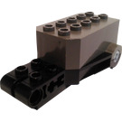 LEGO Pullback Motor 9 x 4 x 2 1/3 with Black Base, White Axle Holes and Studs on Front Top Surface