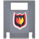 LEGO Container Box 2 x 2 x 2 Door with Slot with Fire Logo Sticker with Gray Background (4346)