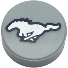 LEGO Tile 1 x 1 Round with Silver Mustang Horse (37564 / 98138)