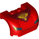 LEGO Red Car Mudguard 3 x 4 x 1.667 Curved with Decoration (95976)