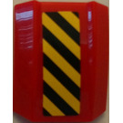 LEGO Red Slope 1 x 2 x 2 Curved with Black and Yellow Hazard Stripes Sticker
