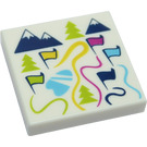 LEGO Tile 2 x 2 with Ski Map, Mountains, Flags with Groove (3068 / 33800)