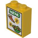 LEGO Yellow Brick 1 x 2 x 2 with 'MENU', '2', '3', Pizza Slice, Salad Sticker with Inside Stud Holder